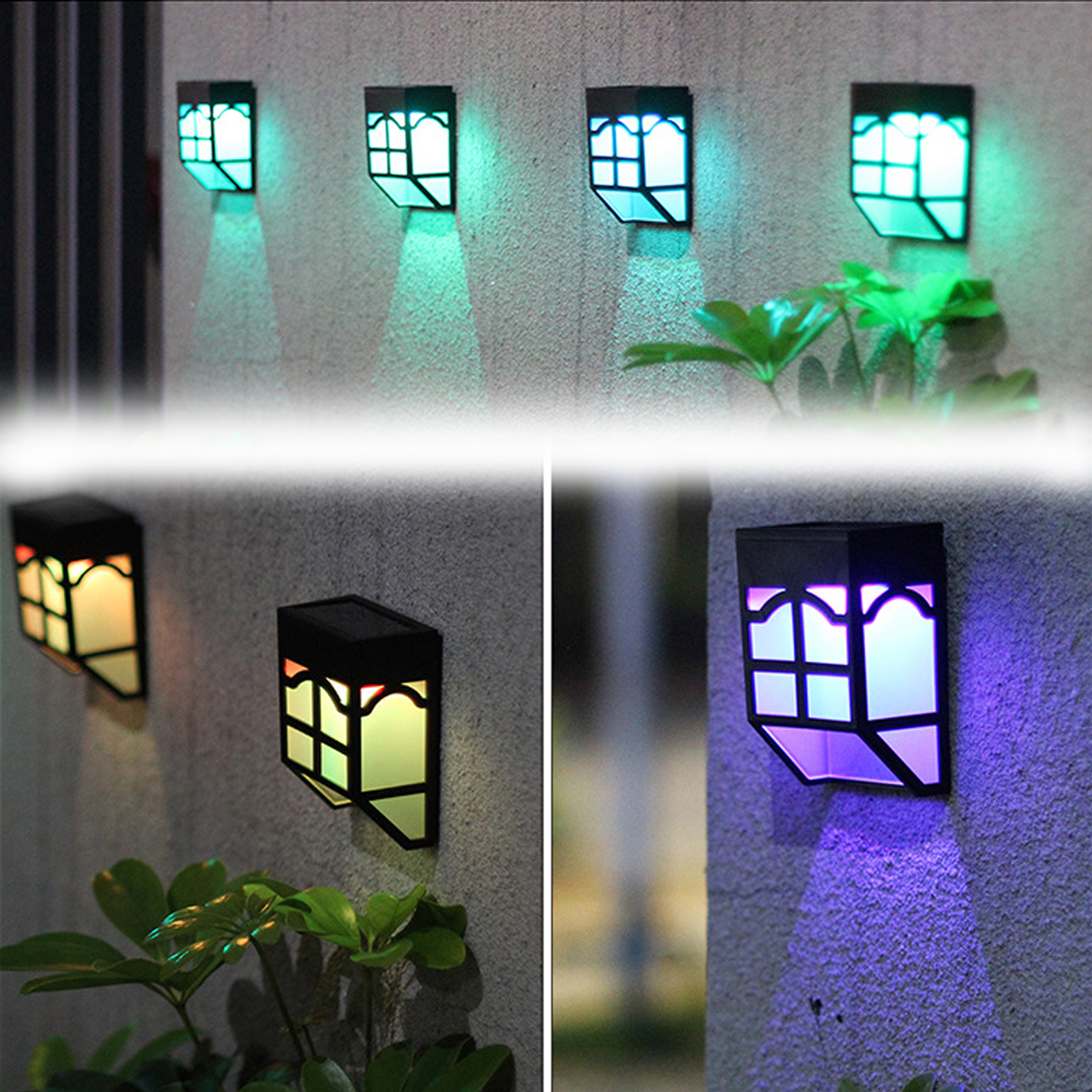 Outdoor Solar Garden Light LED Path Wall Landscape Mount Light Fence Lantern Street Lamp