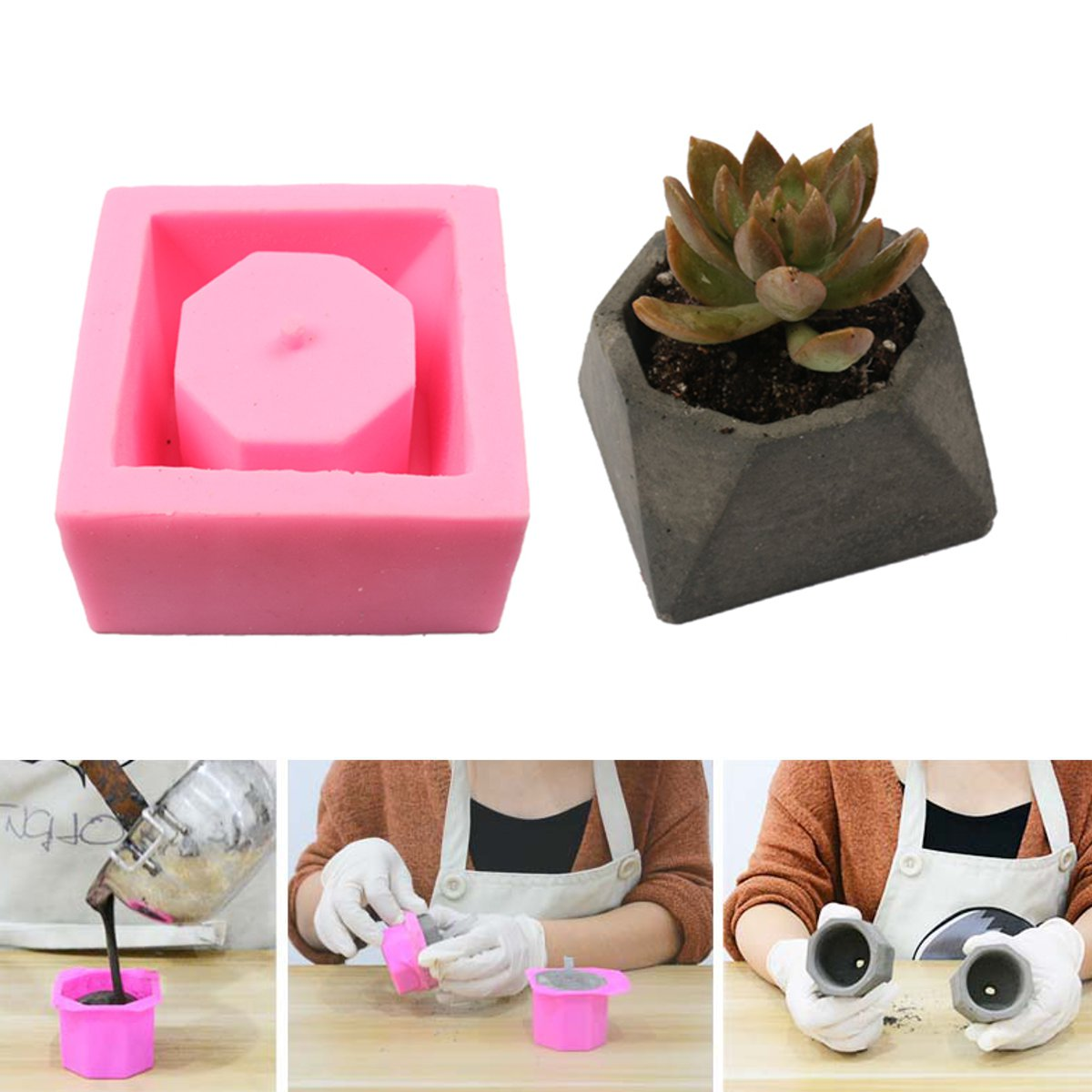 Handmade 3D Geometric Silicone Flower Pot Mold Concret Succulent Planter Mould Decor