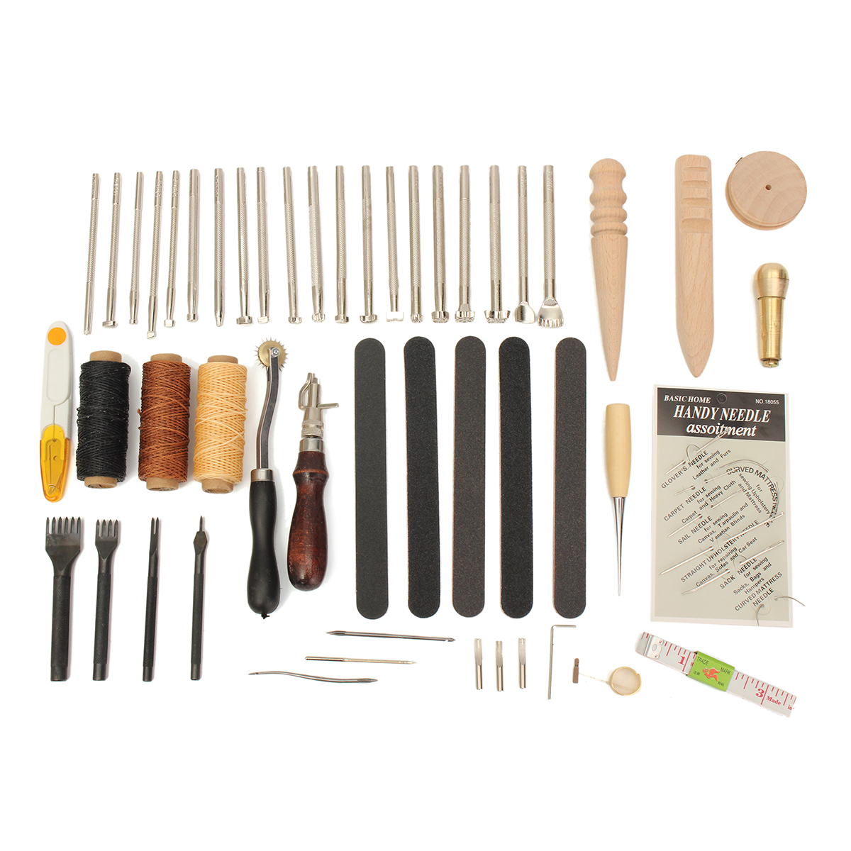 59 Pcs Leather Craft Hand Tools Kit For Hand Stitching/Sewing Stamping Set Kit