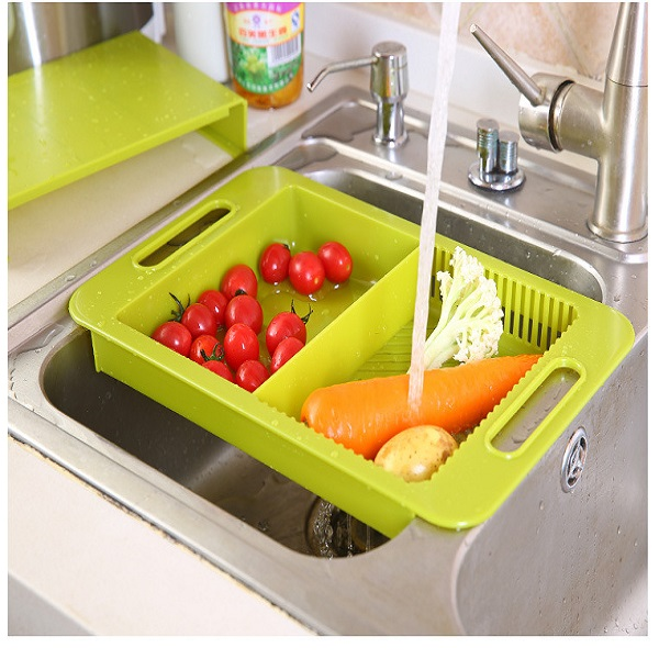 3 in 1 Removable Filter Water Basket Antibacterial Stretch Cutting Board Hanging Storage Container