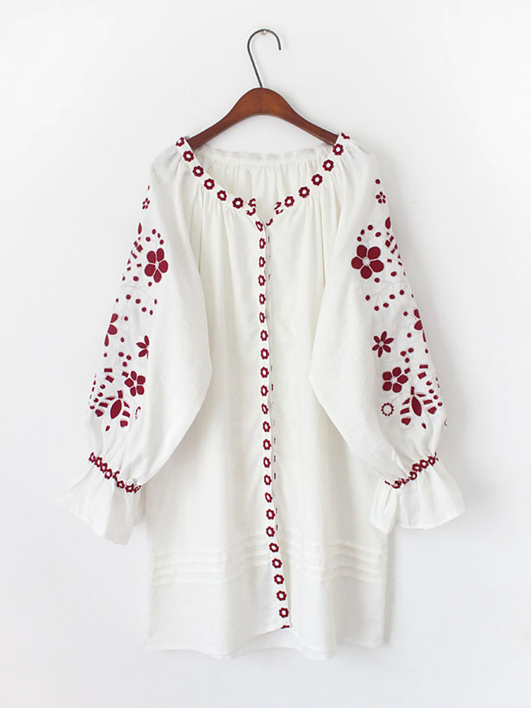 Floral Embroidered Long Sleeve Button Down Mini Dress For Women
