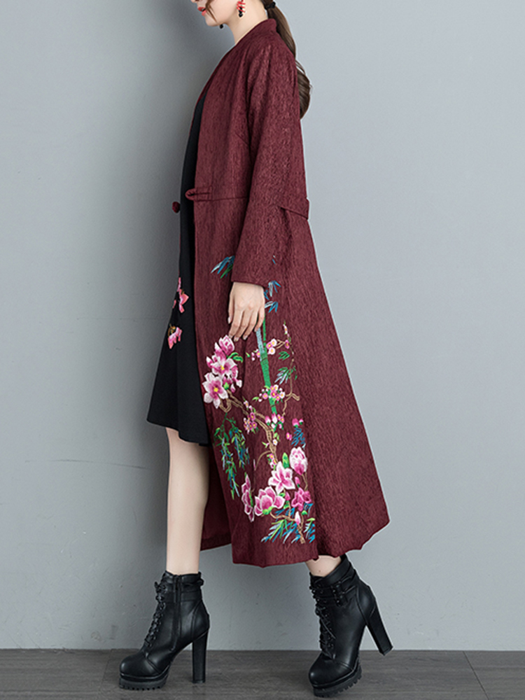 Ethnic Women V-Neck Long Sleeve Floral Embroidered One Button Coat