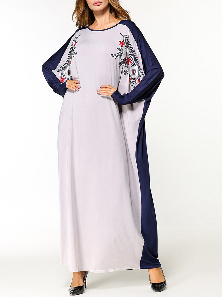 Loose Women Floral Embroidered Batwing Sleeve O-Neck Maxi Dress