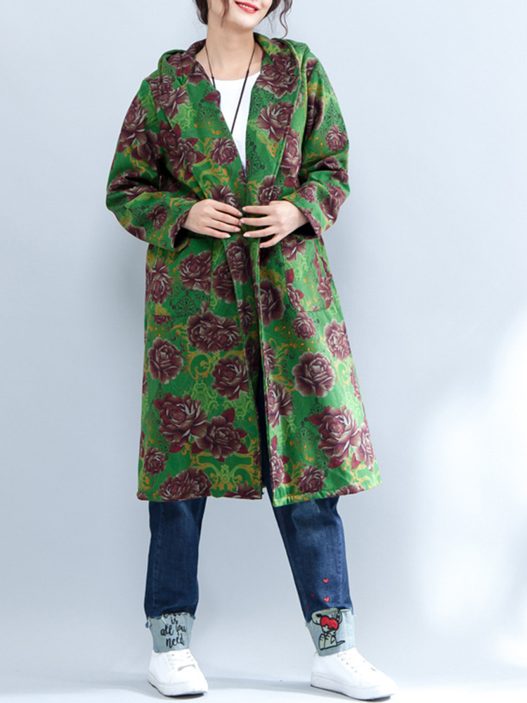 Ethnic Women Hooded Floral Printed Long Sleeve Thick Long Coat