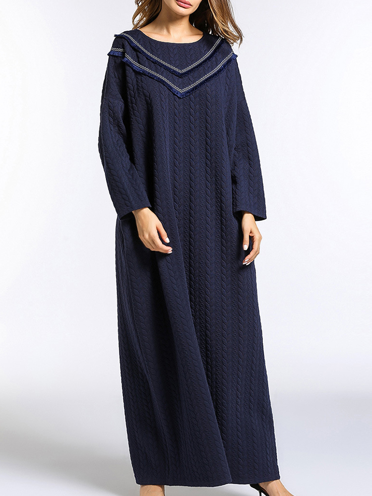 Loose Women Pure Color Tassels Thick Knit Maxi Dress