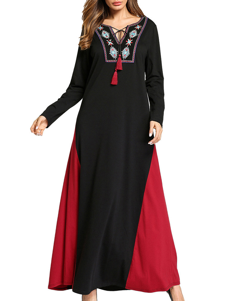 Ethnic Women Embroidery V-Neck Lace Up Long Sleeve Maxi Dress