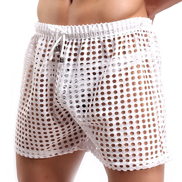 Sexy Mesh Hollow Super Breathable Soft Smooth Casual Fishnet Pants Men Homewear Shorts Pajamas