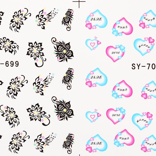 1 Sheet Nail Art Heart Flower Nail Decals Stickers