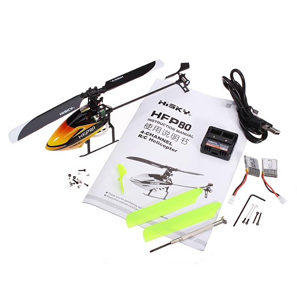 HiSKY HFP80 FBL70 4CH 2.4G Flybarless Mini 3D RC Helicopter BNF
