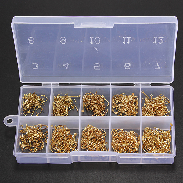 500pcs 10 Sizes Fresh Water Sea Fly Fishing Tackle Hooks With Box