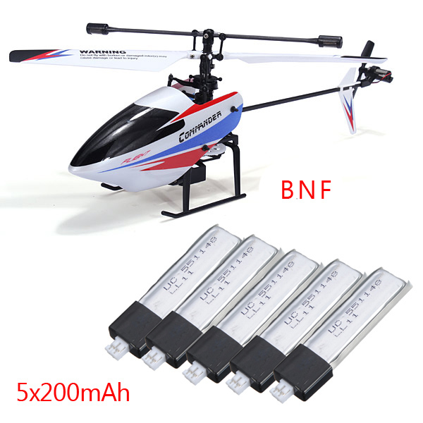 WLtoys V911-pro V911-V2 4CH Helicopter BNF With 5x200mAh Batteries - WltoysRC Helicopter<br>WLtoys V911-pro V911-V2 2.4G 4CH RC Helicopter BNF + 5x200mAh Batteries WLtoys V911-pro BNF version is for customers who had have a WLtoy V911/V911-1/V912/V913 RC helicopter transmitter. It could perfectly save you a transmitter money. Advantages of new version V911-pro V911-pro New canopy design New high-quality materials, with a more fresh and beautiful for shape and color, more perfect lines, not only to enhance the fluency of flying, but also has a large degree of enhancement on impact resistance. V911-pro Strengthened fuselage structure Strengthened fuselage structure, an additional layer of main frame structure is useful to strengthen the body, increase the number of links to sites spindle polygon framework to enhance the fuselage stout grade. V911-pro Strengthened landing skid V911-pro Improved design tail pipes Using screw to lock tail pipe and main frame, tail motor wire will no longer be troubled by replaceing parts. And the tail pipe will not damage the main frame, significantly reducing consumption costs. Summary According to feedback from our customers, manufacturers carefully collect all the good suggestions, through continuous research and improvements, market a new version of the V911 finally. While retaining all the advantages of the original version, it eliminate the shortcomings of 911, so that the performance of 911 once again have evolved. V911-pro helicopter can satify you whatever rainy or sunny,even when outdoor wild grade 4-5. Description: Item Name:WLtoys V911-pro 2.4G 4CH RC Helicopter BNF Frequency:2.4G Channel:4CH Length:260mm Height:80mm Flight Distance:100M Flight Time:Approx 8 Minutes Charge Time:About 60 Minutes Transmitter Battery: 6 x AA Battery(Not Included) Helicopter Battery: Rechargable 3.7V 200mAh Upgraded Canopy,Main Shaft,Landing Skid,Tail Boom Function: Up,Down,Forward,Backward,Turn left,Turn right,360 turn,Left-side flying,Right-sid