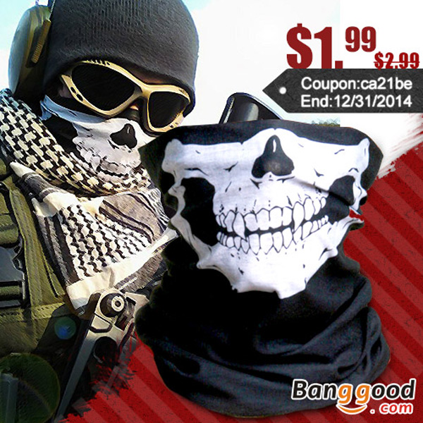 Skull Multi Purpose Head Wear Hat Scarf Face Mask Cap by HongKong BangGood network Ltd.
