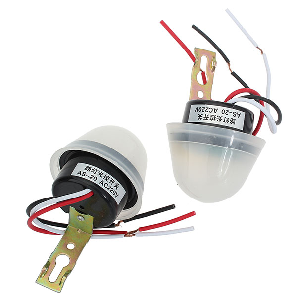 2pcs AS-20 Street Lamp Light Control Switch AC220V 50-60Hz - EachineElectrical Switch<br>2pcs AS-20 Street Lamp Light Control Switch AC220V 50-60Hz Description: Turn on automatically when it goes dark Turn off automatically when it goes bright Specification: Voltage: AC220V Frequency: 50-60Hz Load current: 10A Rated current: 20A Ambient temp.: -20C to +50C Size: 14.2x7.8x6.4cm Power consumption: Max. 2.0W Operating illumination: Turn-on: Less 30lux Turn-off: Less 150lux Installation precautions: Do not use this device installed in dark place in the daytime or direct exposure by normally closed lamp light. White wire black wire of automatic switch connect to power, white wire red wire connect to load. Caution: The control unit may be damaged by misconnecting. At installing in daytime, the unit may turn-ON first, then turn-OFF within 3 minutes. This is normal operation. Package included: 2 x Light control switch 1 x English manual<br>