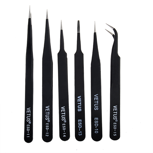 6Pcs Anti-Static Different Size Vetus ESD Tweezers ESD10 to ESD15