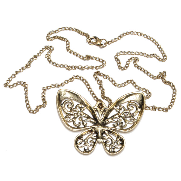 Vintage Style Bronze Hollow Butterfly Sweater Chain Necklace
