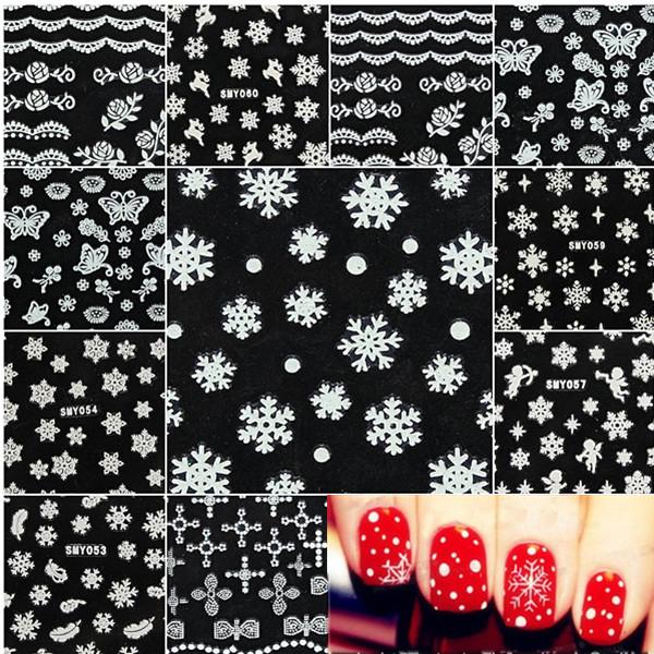 Christmas Snowflakes Snowmen Nail Art Stickers Decals от Banggood INT