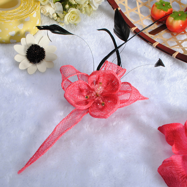 Mini Feather Yarn Flower Headpiece Fascinator Brooch Hair Clip