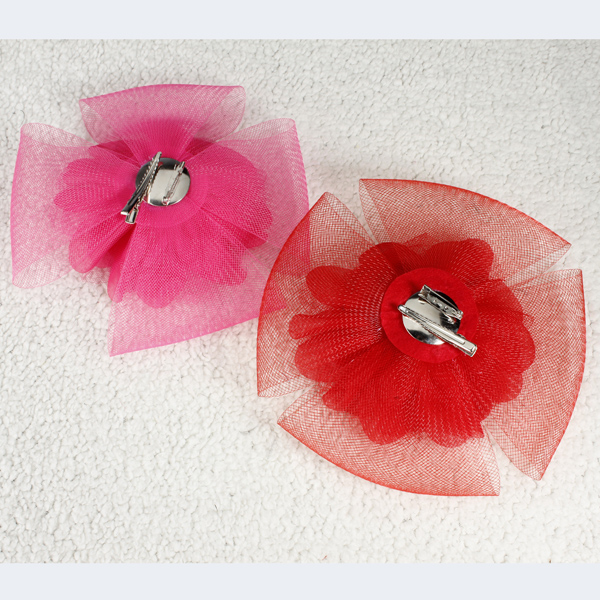 Super Gauze Four Petals Flowers Hairpin Brooch