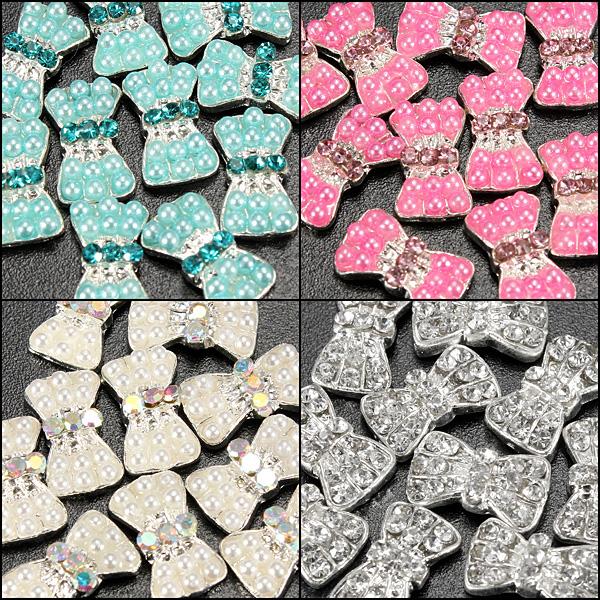 10Pcs 3D Crystal Pearl Bowtie Nail Art Decorations