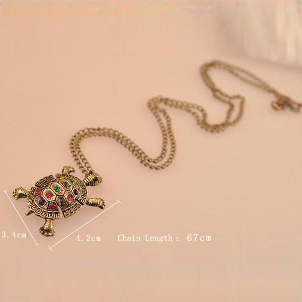 Rhinestone Tortoise Sweater Necklace