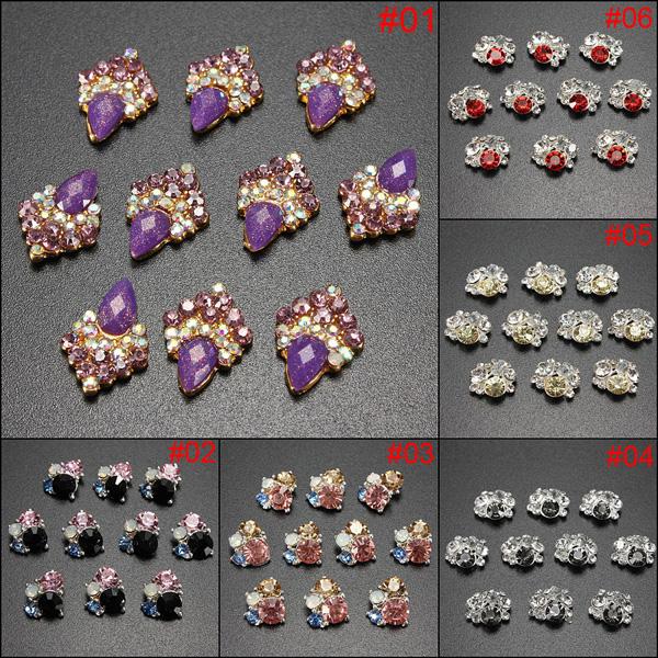White, Purple, Black, Blue, Red, Yellow rhinestone nail art sticker