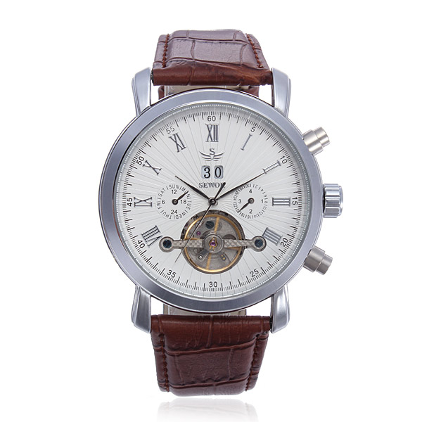 SEWOR Multifunction Leather Automatic Mechanical Men Wrist Watch double side silver transparent case fashion business wrist watch skeleton automatic men watch