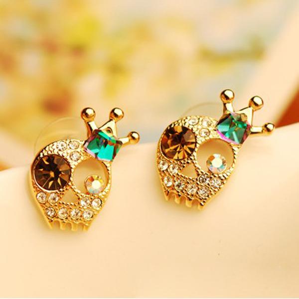 Crystal Skull Crown Earrings