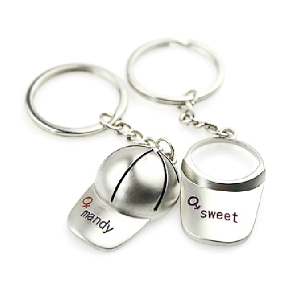 Lover Zinc Alloy Baseball Cap Couple Key Chain Valentines Gift