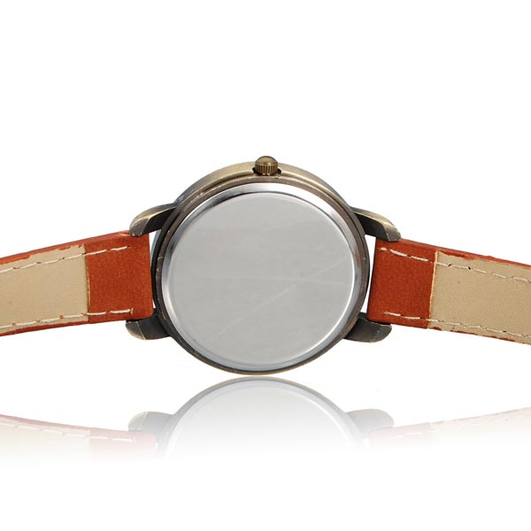 Leather Number Round Watch