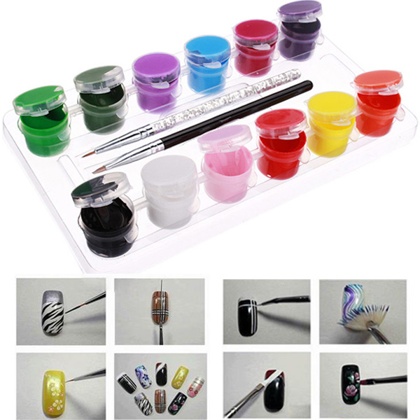 3D 12 Colors Acrylic Nail Art Paint Set With Nail Art Brush Pen