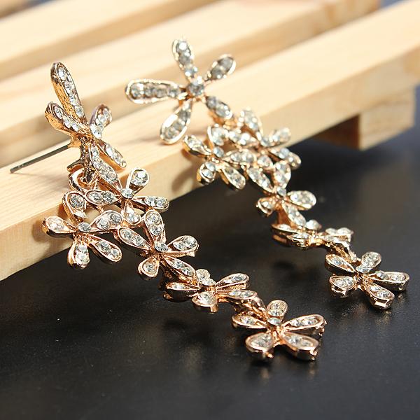 Rhinestone Flower Drop Earrings Crystal Earrings Ear Drop Jewelry