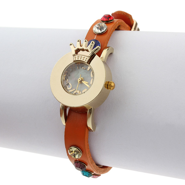 Leather Crown Crystal Watch