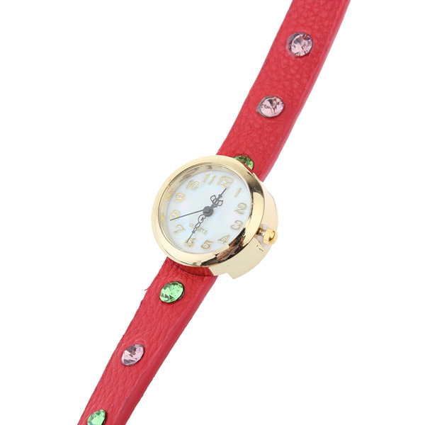 Red Leather Bracelet Watch