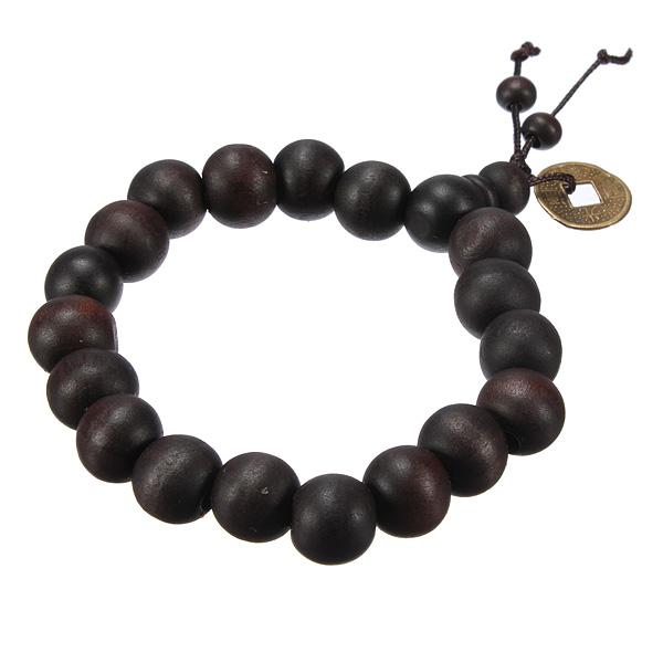 Lucky Black Wood Beads Coin Buddhist Prayer Bracelet Unisex