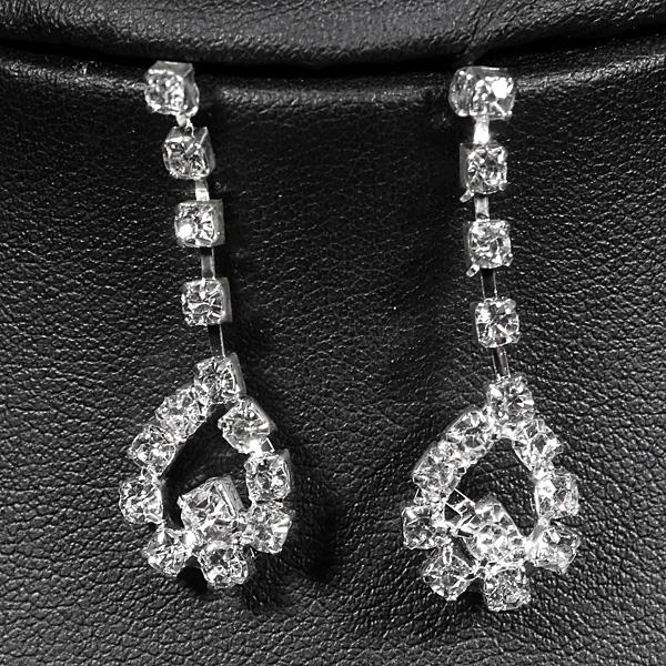 Women Bridal Wedding Crystal Jewelry Set Necklace Earrings