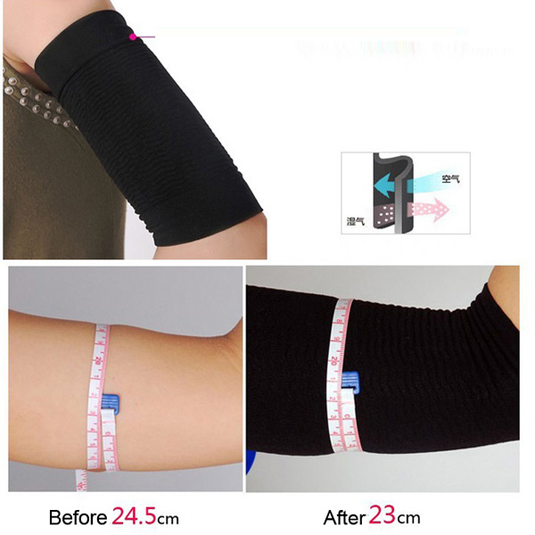 2 Pcs Ultra-Thin Arm Slimming Shapewear Fat Burning Massage Sleeves