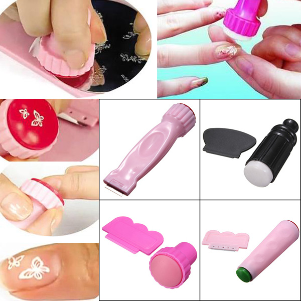 Nail Art Polish Stamper Stamping Scraper Knife Kit