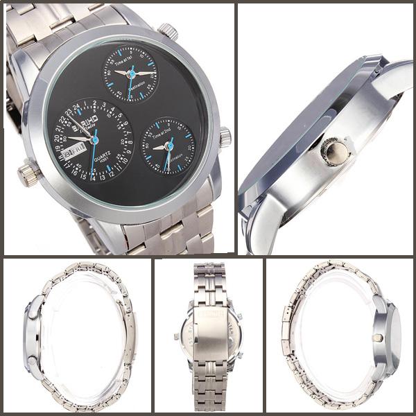 BARIHO Men Quartz Calendar Stainless Steel Three Dial Fashion Watch