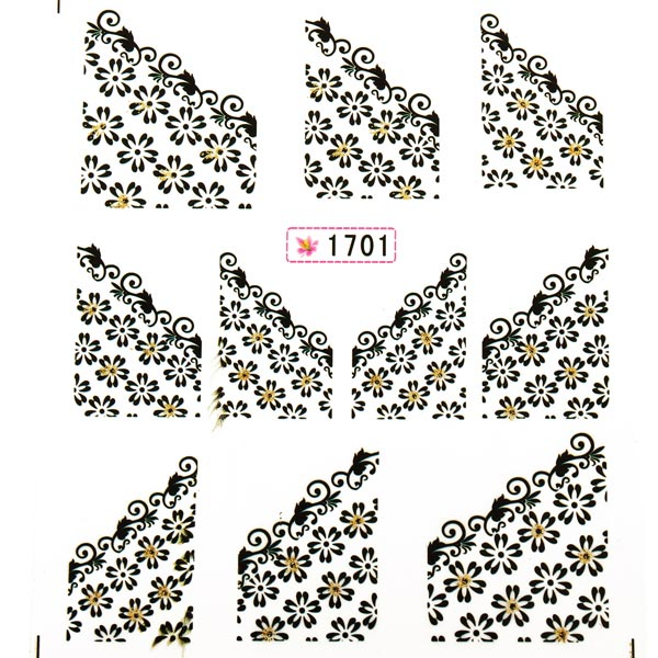 6 Designs Nail Art Slide Lace Nail Decals Stickers