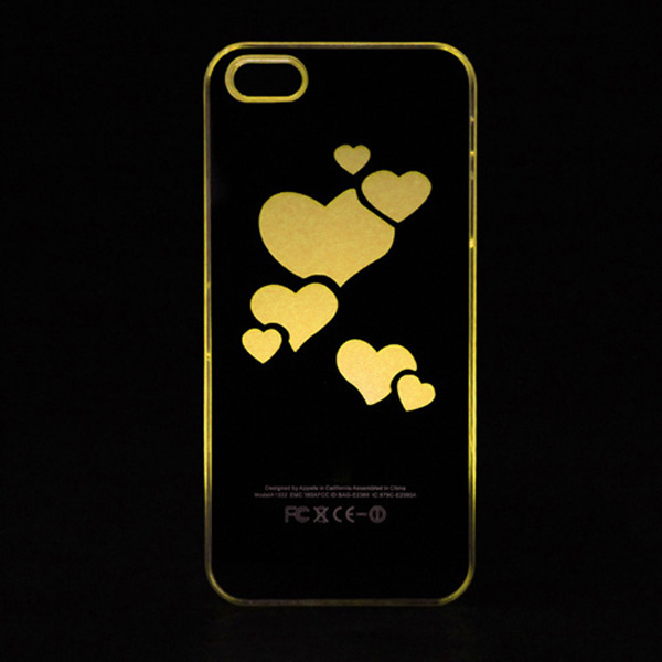 Heart Shaped LED Flash Light Color Hard Case For iPhone 5 5S iPod