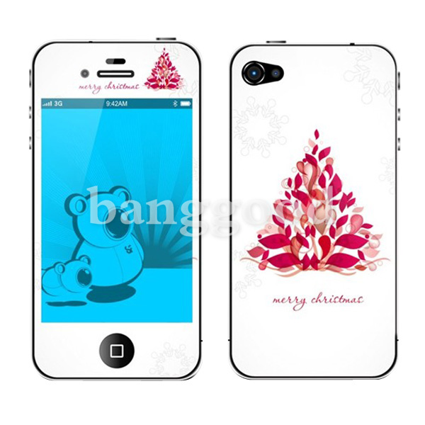 Christmas Tree Pattern Screen Protector Back And Forth For iphone 4 4S