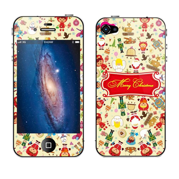 Fashion Mini Christmas Printed Pattern Screen Protector For iphone 4S