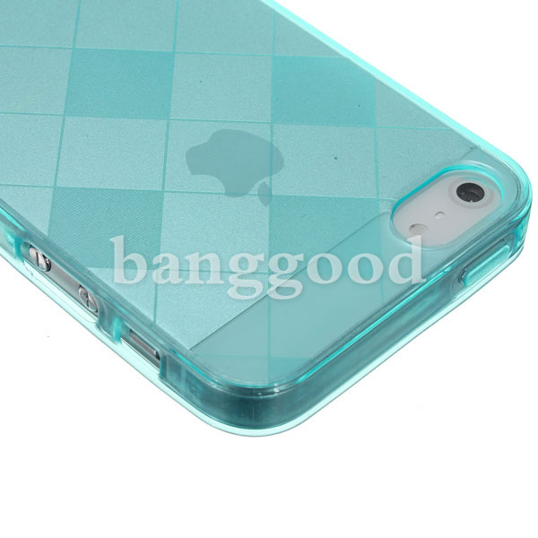 Colorful Lattice Style TPU Soft Back Case For iPhone 5 5G