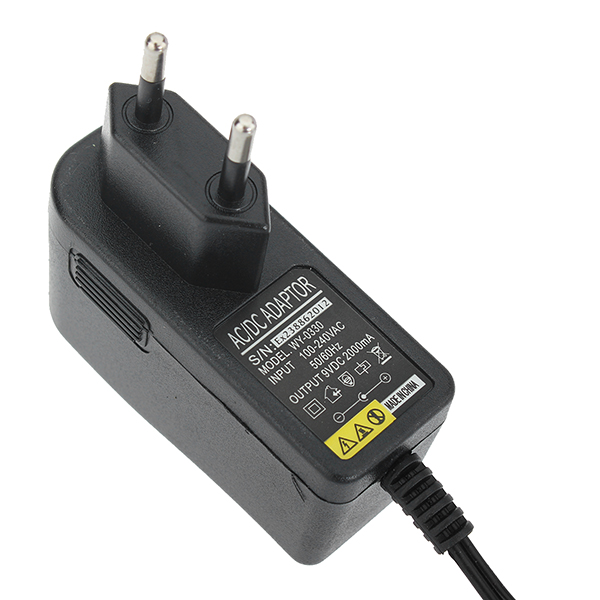 Universal EU 2.5mm Round Head 9V 2A Charger Adapter For