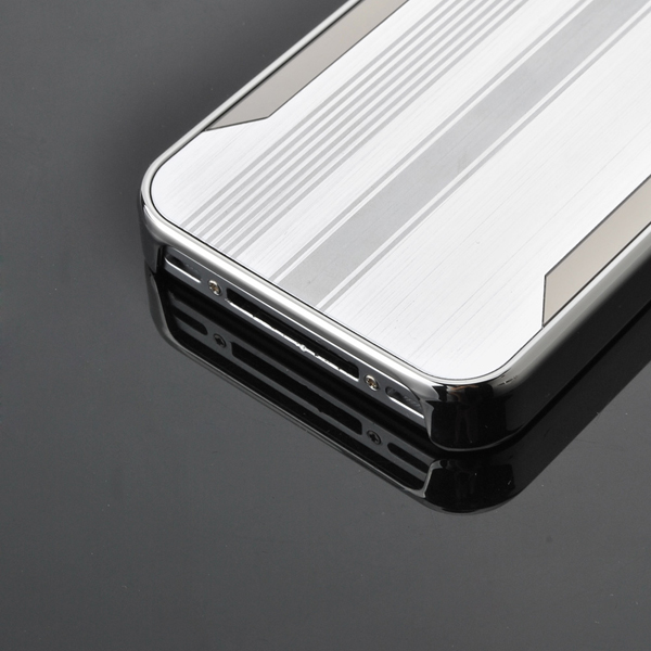Deluxe Stripe Chrome Aluminum Hard Back Case Cover For iPhone 4