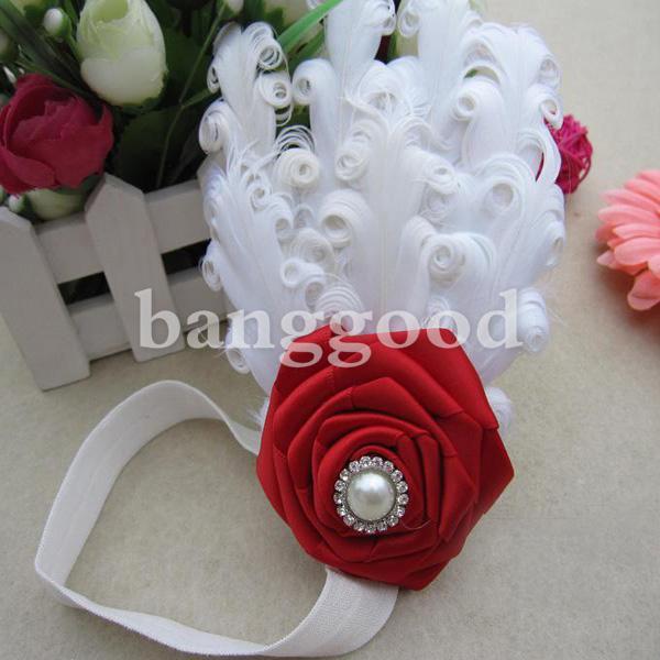 Flower Feather Baby Headband
