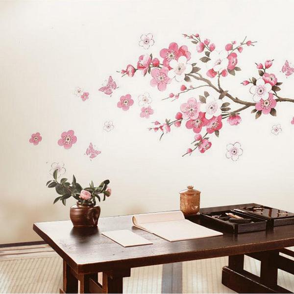Pink Plum Flower Butterfly Living Room Bedroom Wall Stickers (Eachine1) Salem Куплю по объявлению