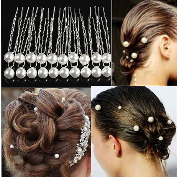 20PCS White Pearl Alloy Hairpins Wedding Bride Hair Accessories