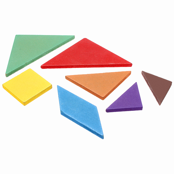 Rainbow Color Wooden Tangram 7 Piece Puzzle Brain Teaser Puzzle