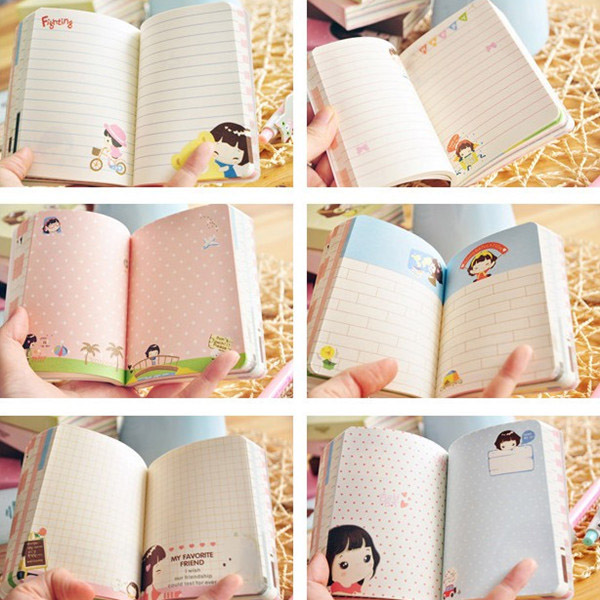 Cute Korea Biscuits Girl Diary Notebook Girl Notepads Stationery